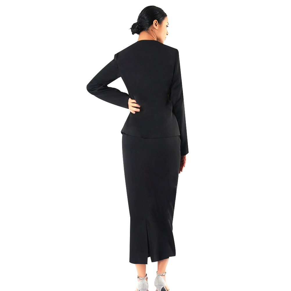Kueeni Women Church Suits with Hats Church Dress Suit for Ladies Formal Church Clothes Black by Kueeni (Image #3)