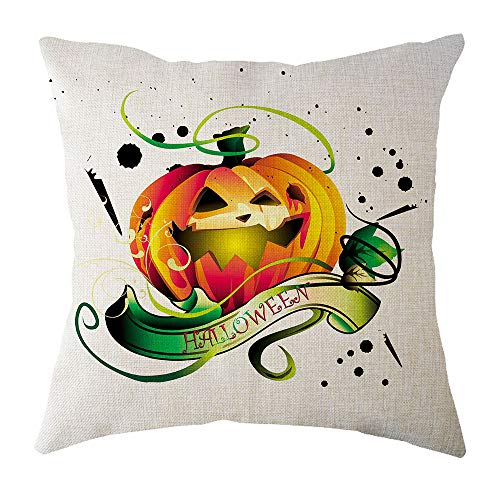 WFeieig_Halloween Blue Page Lumbar Small Decorative Throw Pillow Covers for Sofa Couch Bedroom Living Room -