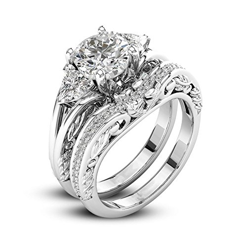 Women 2-in-1 Fashion Vintage Diamond Rings Wedding Engagement Jewelry Gift (10, Silver)