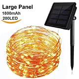 Hilai Solar String Lights 200 Led Fairy Lights Waterproof Solar Outdoor Lights Decorating Twinkle Lights 72ft Copper Wire Lights Ambiance Lighting Warm White