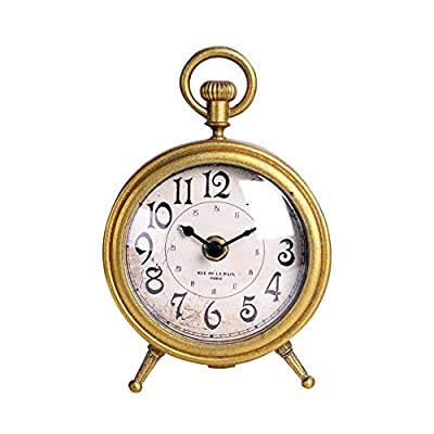 NIKKY HOME Metal Small Vintage Table Clock Decorative Pocket Watch Shape Distressed Gold Finish - Classic in design, this pocket watch shape table clock looks perfectly stylish on your table. Crafted of metal with an golden finish,simple but elegant accent Only require one AA (not incluced in package).For longer life, Please use zinc carbon batteries, instead of alkaline batteries. - clocks, bedroom-decor, bedroom - 51o7RItz%2BCL. SS400  -