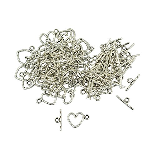 MonkeyJack 50 Sets Tibetan Silver Daisy Flower Heart OT Toggle Clasp Jewelry DIY Making
