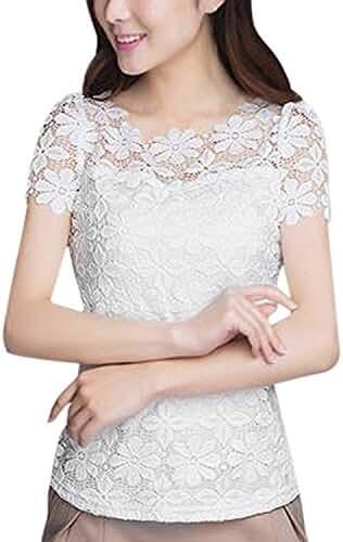 ZANZEA Women Lace Casual Short Sleeve Sexy Round Neck Elegant Tops Blouses Tee T-shirt Shirt
