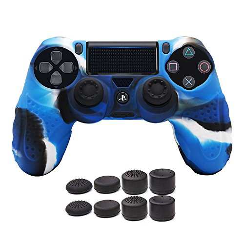 (CHINFAI PS4 Controller DualShock 4 Skin Grip Anti-Slip Silicone Cover Protector Case for Sony PS4/PS4 Slim/PS4 Pro Controller with 8 Thumb Grips (Camou-Blue))