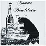 3dRose cst_110380_3 Black Cat French Vintage Art-Ceramic Tile Coasters, Set of 4