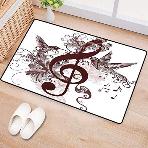 Music,Bath Mat,Cute Floral Design with Treble Clef and Singing Flying Birds Sparrows Art,Door Mat Increase,Chesnut Brown White 16
