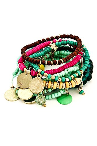 Bohemian Gypsy Turquoise Beaded Stretch Bracelet Layering 10 Stack Bundle: Bangles & Bag - Bohemian Gypsy Costumes