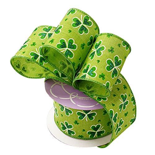 St Patricks Day Wired Ribbon - 2 1/2 x 10 Yards, Glittery Emerald Green Shamrocks on Green Ribbon, Saint Patricks Day, Earth Day, Kiss Me Im Irish, Gift Wrapping, Hair Bows