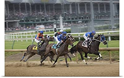 Jaynes Gallery Poster Print entitled Kentucky, Louisville. Horses racing at Churchill Downs