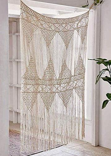 Flber Macrame Curtain Large Wall Hanging Bohemian Wedding Decor, 50 w x 75 h