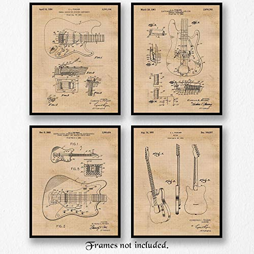 Original Fender Guitar Patent Art Poster Prints - Set of 4 (Four 8x10) Unframed Vintage Style Pictures - Great Wall Art Decor Gifts Under $20 for Home, Garage, Office, Man Cave, Teacher, Musician,Band