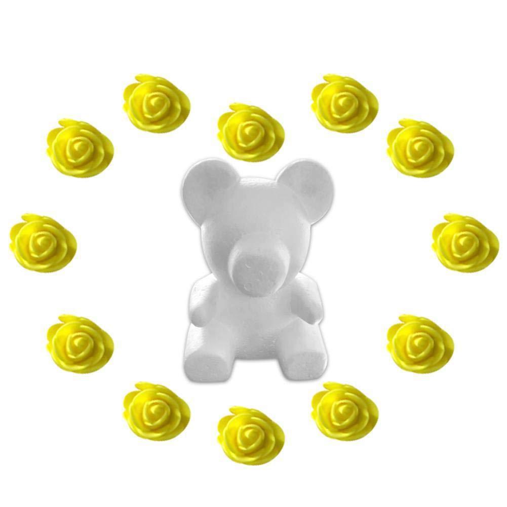 Escolourful クマ型模型ホワイト3Dポリスチレンフォームベア+ミニPEフォームローズフラワー200個 DIYクラフトギフト バレンタイン記念日 誕生日 母の日 28*20*15cm イエロー B07P4LC4NZ イエロー 28*20*15cm