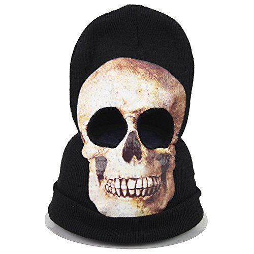 Skull Mardi Gras Scary Mask (Joymee Full Face Mask Hood Knit Skull Scary Halloween Mardi Gras Party Warm New)