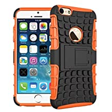 For iPhone 6 Plus / iPhone 6S Plus, Urvoix(TM) Hybrid Heavy Duty Dual Layer Shock Proof Rugged Shell Grenade Grip Tyre Kickstand Case Cover for 5.5'' iPhone 6Plus/6SPlus (NOT for iPhone6) Orange