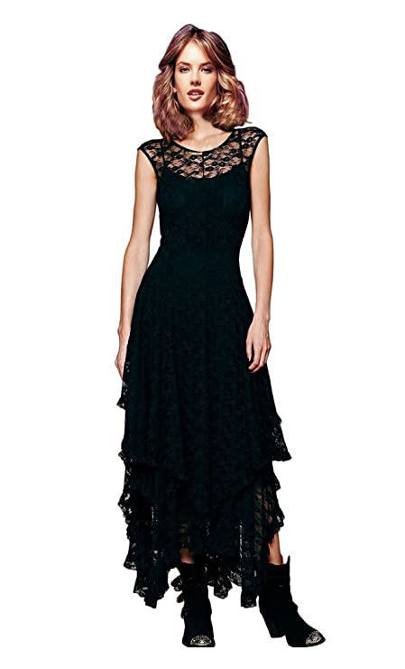 CA Fashion Women's Sleeveless Floral Lace Tiered Long Irregular Party Dress Black Small Small Black