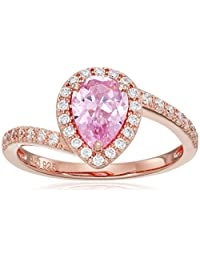 14k Rose Gold Plated Sterling Silver Pink and White Cubic Zirconia Teardrop Bypass Ring, Size 7