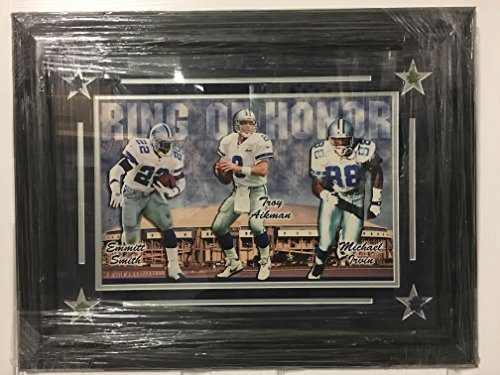 Michael Irvin Framed - Emmitt Smith, Troy Aikman, & Michael Irvin Dallas Cowboys Ring of Honor Custom Framed 21x27 Picture with Texas Stadium Turf (Steiner COA) Triplets