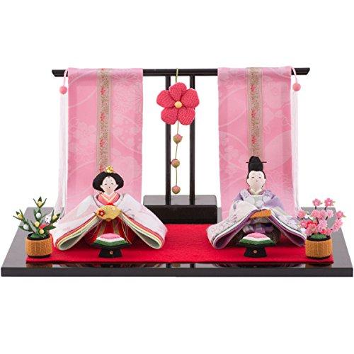 FUN fun Japanese Kimono Dolls Hina Ningyo Set Small Traditional Figurines Compact Peach Blossom