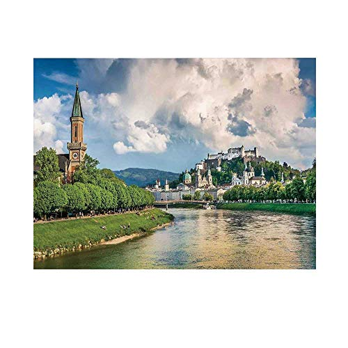 (Cityscape Photography Background,Historic Print European of Salzburg Land with Cloudy Sky and River in Austria Home Backdrop for Studio,8x7ft)