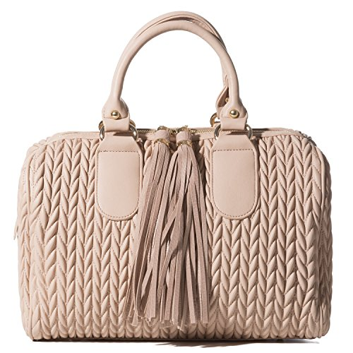 Handbag Republic Womens Vegan PU Leather Top Handle Handbag Tube Satchel Style Two Tassel Zipper Closure (Blush)