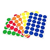 ChromaLabel 3/4 inch (19 mm) Color-Code Dot Labels on Sheets | 5 Assorted Colors | 1,200/Variety Pack (Standard)