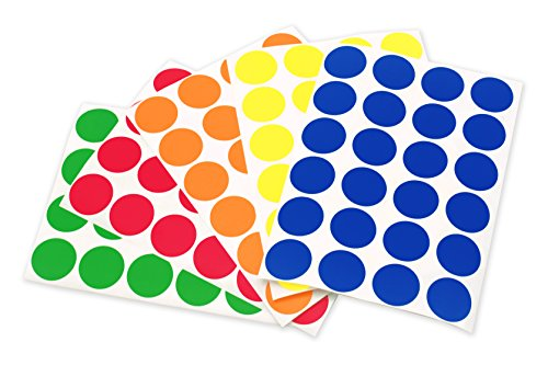 ChromaLabel 3/4 inch Color-Code Dot Labels on Sheets | 5 Assorted Colors | 1,200/Variety Pack (Standard) -