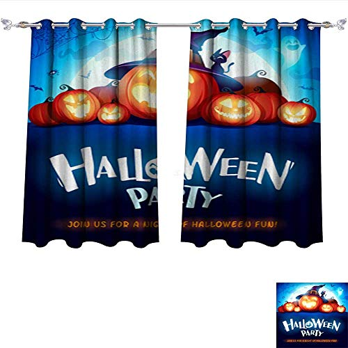 Philiphome Blackout Window Curtain Halloween Party Jack O Lantern Party Halloween Pumpkin Patch in The Moonlight 2 Tie Up Printed Blackout Curtain W55 x L39/Pair ()