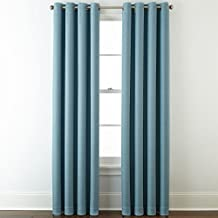 """JCPenney Home Quinn Basketweave Grommet-Top Curtain Panel, 50"""" x 63"""", Stone Blue"""