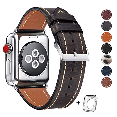 - Compatible for Apple Watch Band 42mm 44mm Mens, Top Grain Leather Band Replacement Strap iWatch Series 4, 3, 2, 1,Sport Edition 2019 New Retro Leather (Retro Pearl Dark Brown Band+Silver Buckle)