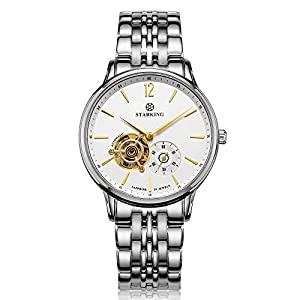 STARKING Men's AM0213SS11 Automatic Skeleton Subdial Analog Display Stainless Steel Bracelet Dress Watch