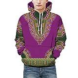 SCSAlgin Blouse Lovers Autumn Winter African 3D Print Long Sleeve Dashiki Hoodies Sweatshirt Top (Purple, XL)