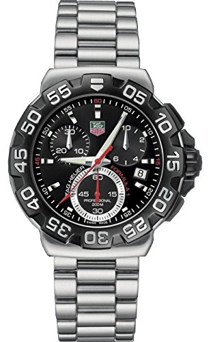 tag heuer formula one men s quartz watch black dial tag heuer formula one men s quartz watch black dial chronograph display and silver stainless steel bracelet cah1110 ba0850 tag heuer amazon co uk