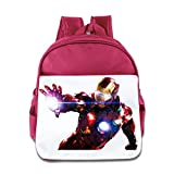 XJBD Custom Personalized The Iron Man Boys And Girls Schoolbag For 1-6 Years Old Pink
