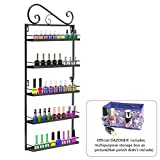 Dazone DIY Metal Nail Polish Mountable 5 Tier Organizer Nail Polish Wall Rack Organizer Holds 50 Bottles Nail Polish (Black)