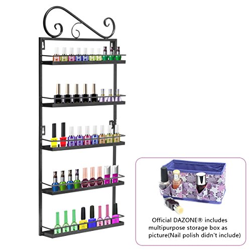 Price comparison product image Dazone DIY Metal Nail Polish Mountable 5 Tier Organizer Nail Polish Wall Rack Organizer Holds 50 Bottles Nail Polish (Black)