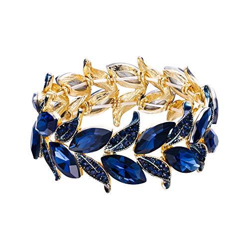 Style Rhinestone Victorian Crystal - BriLove Wedding Bridal Bracelet for Women Marquise-Shape Leaf Stretch Bangle Bracelet Navy Blue Sapphire Color Gold-Toned