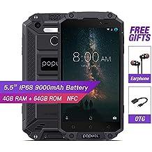 IP68 Waterproof Rugged Smartphone Unlocked,4G LTE Dual Sim Cell Phones,POPTEL P9000 MAX,NFC 4G+64G VoLTE Hotspot Fingerprint Gorilla Glass 5.5