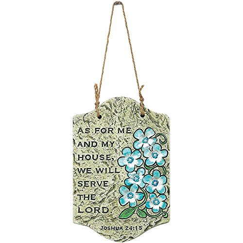 My House Will Serve the Lord Blue Floral 7.75 Inch Cement Outdoor Garden Plaque Sign