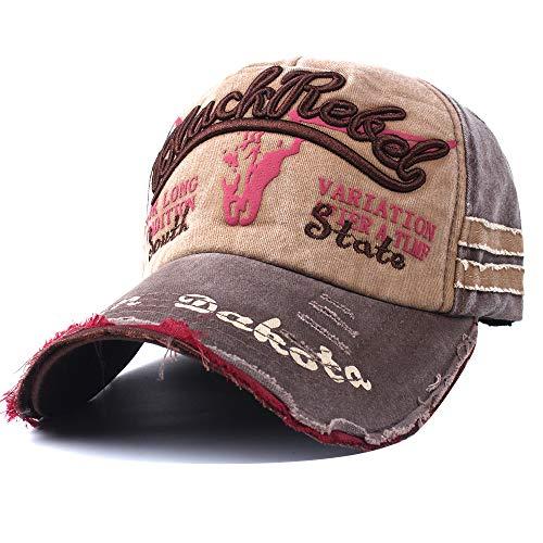 (Vankerful Unisex Washed Cotton Distressed Vintage Baseball Caps Dad Hat Two Tone Adjustable Snapback Fashion Embroidered Hip Hop Trucker Hat Brown Kakhi)