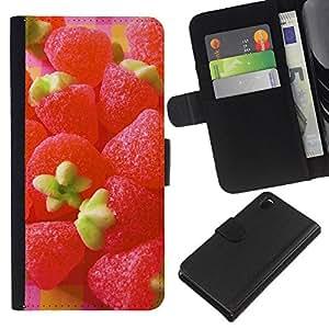 KLONGSHOP // Tirón de la caja Cartera de cuero con ranuras para tarjetas - Caramelo de la fruta de la fresa Macro - Sony Xperia Z3 D6603 //