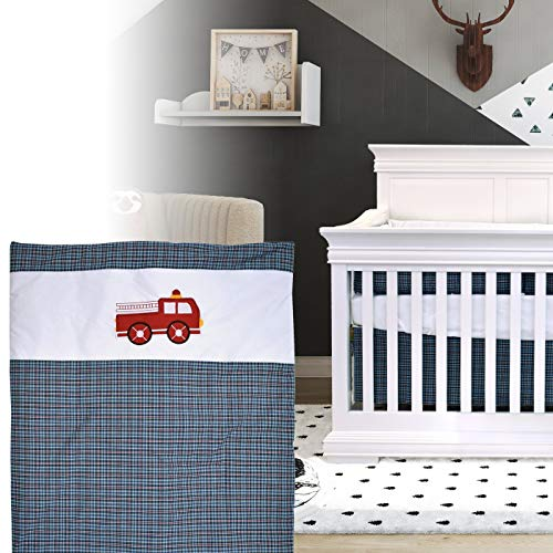 BOOBEYEH & DESIGN 5PCS Bedding for Baby - Firefighter Truck Pattern, Blue and red