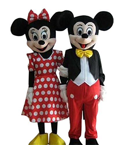 Mickey Mouse and Minnie Mouse Adult Mascot Costumes Cosplay Fancy Dress Outfits (Mickey and Minnie Mouse)