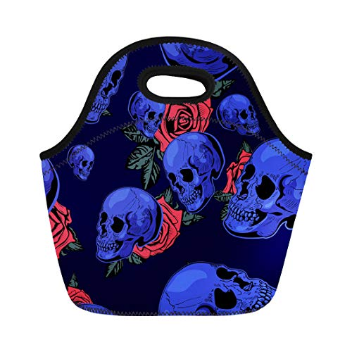 (Semtomn Neoprene Lunch Tote Bag Roses Halloween Scary the Skull Anatomy Black Bone Brutal Reusable Cooler Bags Insulated Thermal Picnic Handbag for Travel,School,Outdoors,)