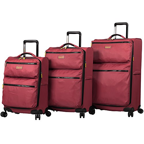 Lucas Luggage Ultra Lightweight 3 Piece Expandable Suitcase Set With Spinner Wheels (One Size, Red)