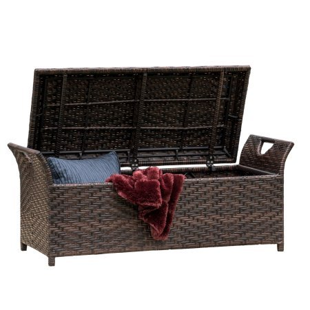 Noble House Multibrown Wicker Danica Wing Outdoor Storage Bench by