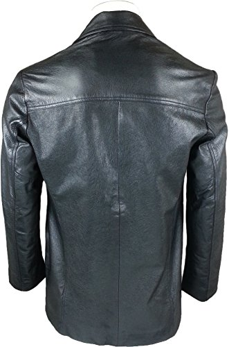 UNICORN Hommes Classique Style de Aménagée Suit Blazer - Réel cuir veste - Noir GT #T9