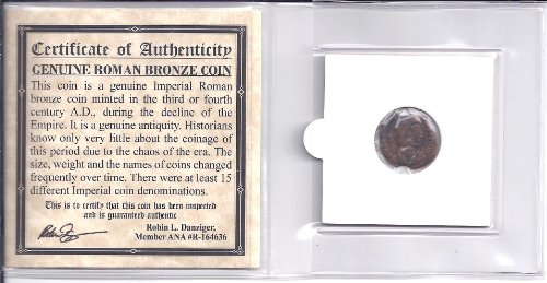 ANCIENT ROMAN BRONZE COIN ,1500 years old With COA