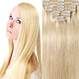 200g Real Triple Weft Extra Thick Clip in 100% Remy Human Hair Extensions Full Head (22 inch 200G 7.05Oz #60 Platinum Blonde) 8 Pcs Set Grade 10A Natural Hair Pieces Long Straight for Women
