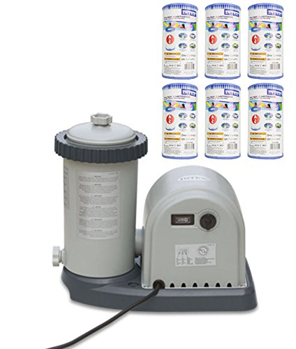 INTEX 1500 GPH Easy Set Pool Filter Pump w/ GFCI & 6 Type A Filter Cartridges