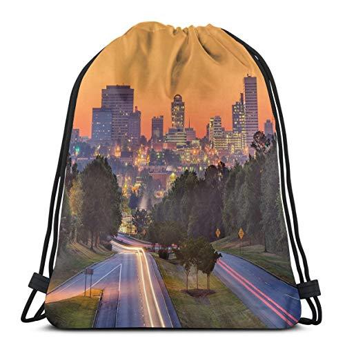 Printed Drawstring Backpacks Bags,Skyline Of Columbia City South Carolina Main Street Urban Scene,Adjustable String Closure